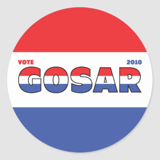 Vote Gosar 2010 Elections Red White and Blue Round Sticker