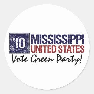 Vote Green Party in 2010 – Vintage Mississippi Round Stickers