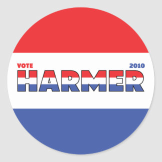 Vote Harmer 2010 Elections Red White and Blue Stickers