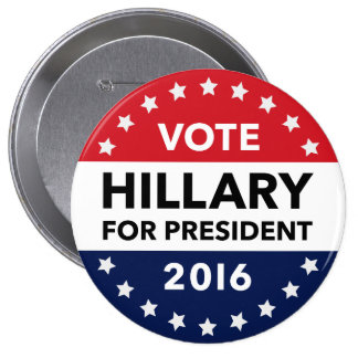 Vote Hillary Clinton for President 2016 Pin 4""
