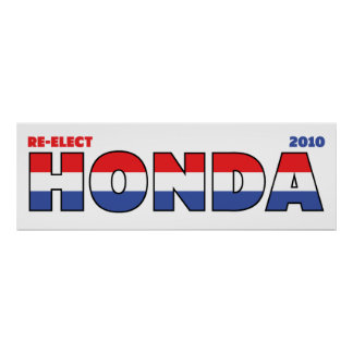 Vote Honda 2010 Elections Red White and Blue Poster