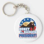 Vote Honey Badger For President Basic Round Button Key Ring