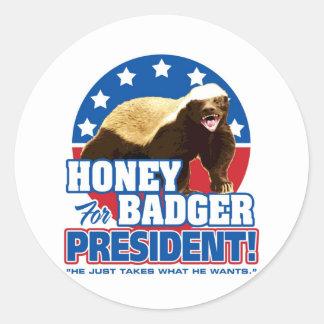 Vote Honey Badger For President Round Sticker