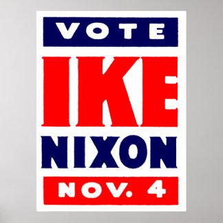 Vote Ike, Nixon in 1952 Poster