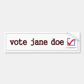 """""""Vote Jane Doe"""" Bumper Sticker"""