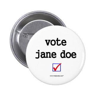 Vote Jane Doe Campaign Button