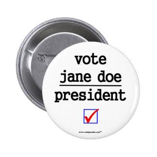 Vote jane Doe President Campaign Button