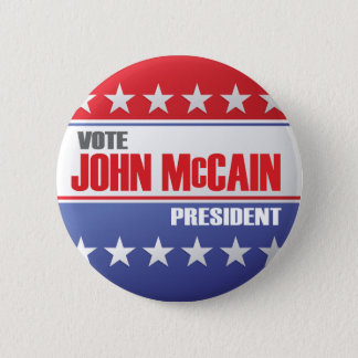 Vote John McCain For President 6 Cm Round Badge