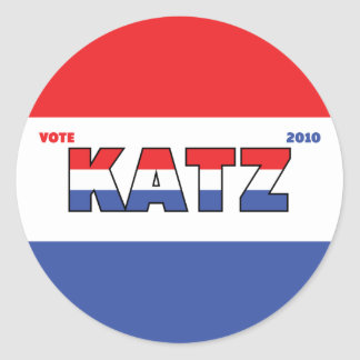 Vote Katz 2010 Elections Red White and Blue Round Stickers
