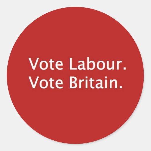 VOTE LABOUR ROUND STICKERS