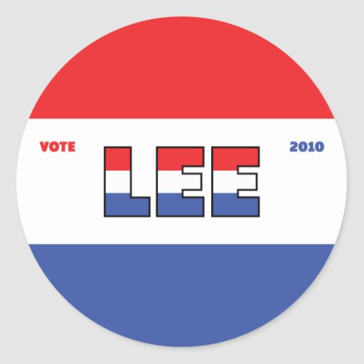 Vote Lee 2010 Elections Red White and Blue Round Sticker