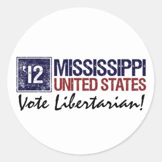Vote Libertarian in 2012 – Vintage Mississippi Round Stickers