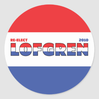 Vote Lofgren 2010 Elections Red White and Blue Round Stickers