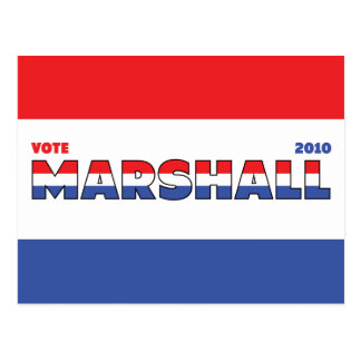 Vote Marshall 2010 Elections Red White and Blue Postcard
