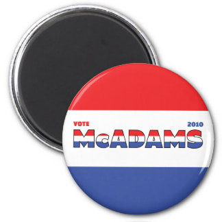 Vote McAdams 2010 Elections Red White and Blue 6 Cm Round Magnet