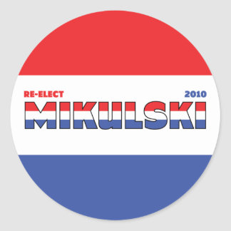 Vote Mikulski 2010 Elections Red White and Blue Round Sticker