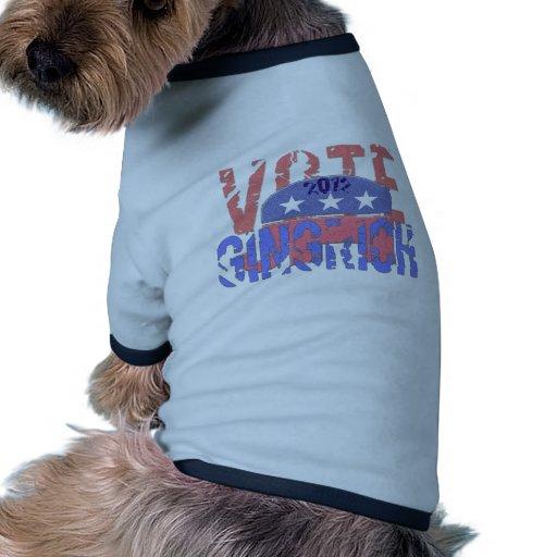 Vote Newt Gingrich 2012 Pet Tshirt