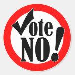 Vote No! Round Sticker