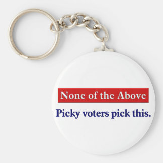 Vote none of the above basic round button key ring