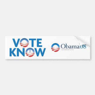 Vote Obama, Know Peace Car Bumper Sticker