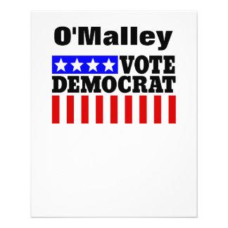 Vote O'Malley Democrat  for President 11.5 Cm X 14 Cm Flyer