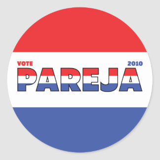 Vote Pareja 2010 Elections Red White and Blue Sticker