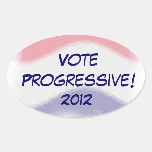 Vote Progressive 2012 Oval Election Sticker