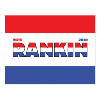 Vote Rankin 2010 Elections Red White and Blue Postcard