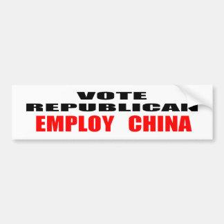 Vote Republican Employ China Bumper Stickers