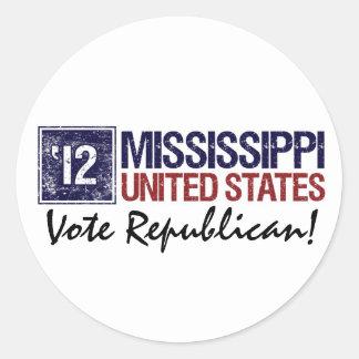 Vote Republican in 2012 – Vintage Mississippi Round Sticker