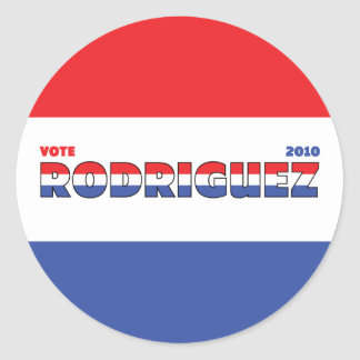 Vote Rodriguez 2010 Elections Red White and Blue Sticker