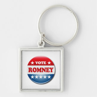 VOTE ROMNEY Silver-Colored SQUARE KEY RING