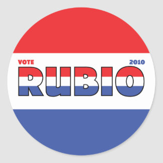 Vote Rubio 2010 Elections Red White and Blue Round Sticker