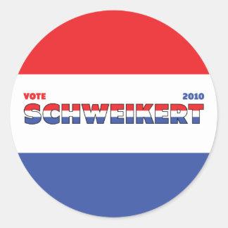 Vote Schweikert 2010 Elections Red White and Blue Round Sticker