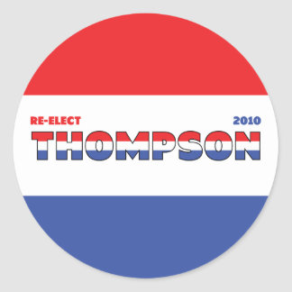 Vote Thompson 2010 Elections Red White and Blue Round Stickers