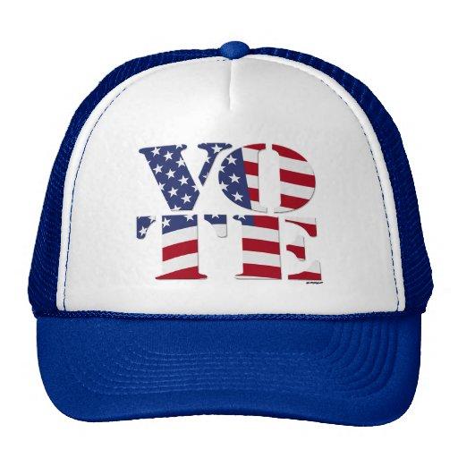 "VOTE ""V O T E"" with US FLAG Mesh Hats"