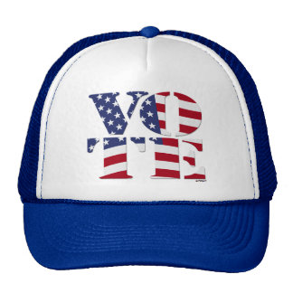 VOTE V O T E with US FLAG Mesh Hats