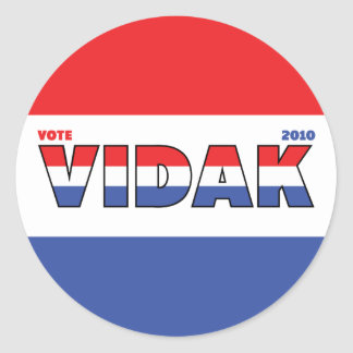 Vote Vidak 2010 Elections Red White and Blue Stickers