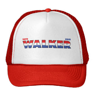 Vote Walker 2010 Elections Red White and Blue Trucker Hats