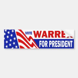 Vote Warren For President Car Bumper Sticker