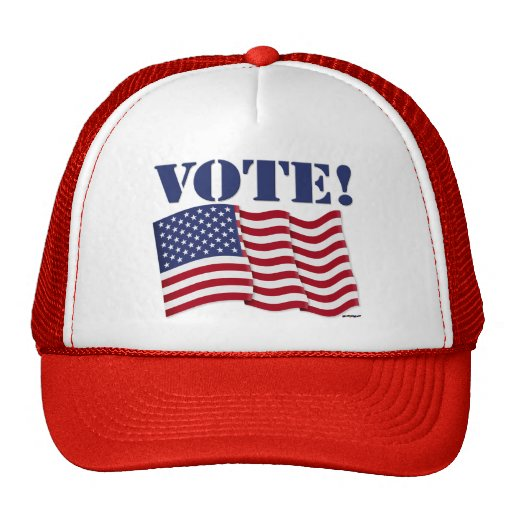 VOTE! with US Flag Mesh Hat