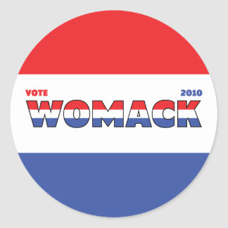 Vote Womack 2010 Elections Red White and Blue Round Sticker