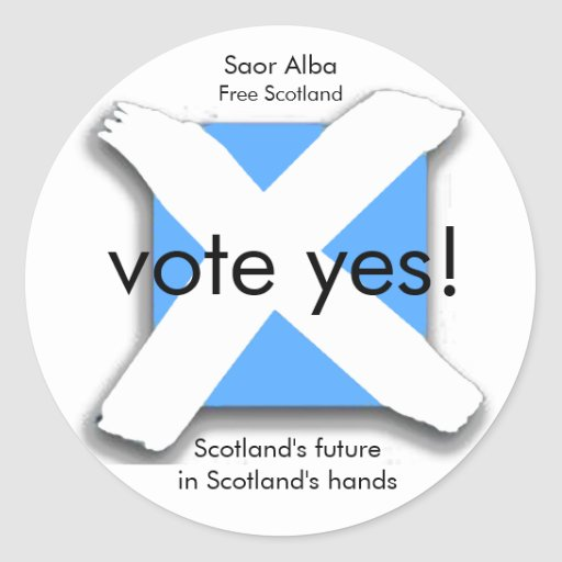 Vote Yes Scottish Independence Referendum Sticker
