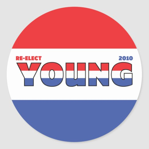 Vote Young 2010 Elections Red White and Blue Stickers