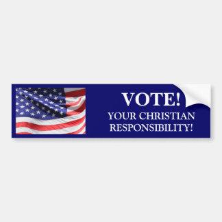 VOTE! YOUR CHRISTIAN RESPONSIBILITY Bumper Sticker