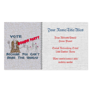 VOTE ZOMBIE PARTY Double-Sided STANDARD BUSINESS CARDS (Pack OF 100)