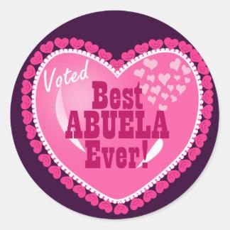 Voted BEST Abuela ever! Round Stickers