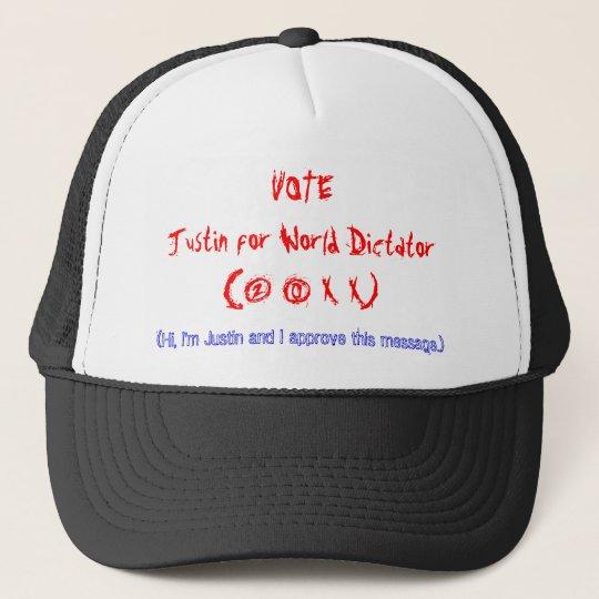 VOTEJustin for World Dictator(2 0 X X) Trucker Hat  3803b300e71