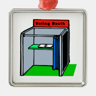 Voting Booth Square Metal Christmas Ornament