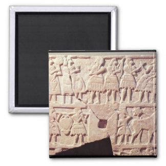 Votive plaque depicting an offering scene square magnet